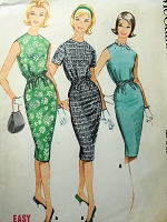 1960s Vintage CLASSY Slim Dress with Drawstring Waist McCalls 5699 Sewing Pattern Bust 32