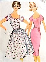 1960s LOVELY Slim or Full Skirt Party Dress Pattern McCALLS 5702 Pretty Sweetheart NecklineBust 36 Vintage Sewing Pattern FACTORY FOLDED
