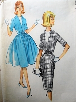 1960s Vintage FLIRTY Shirt Waist Dress with Optional Dickey McCalls 5737 Sewing Pattern Bust 32