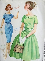 1960s PRETTY Bateau Neckline Dress McCall 5803 Vintage Sewing Pattern Bust 32