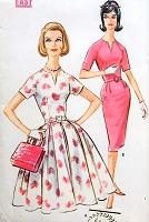 1960s LOVELY Full or Slim Skirt Dress Pattern McCALLS 5812 Easy To Sew Daytime or After 5 Dress Bust 32 Vintage Sewing Pattern