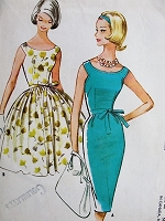 1960s EFFORTLESS Scoop Neck Dress with Slim or Full Skirt McCalls 5813 Bust 34 Vintage Sewing Pattern