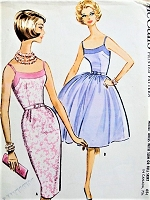1960s Cocktail Party Dress Pattern McCALLS 5842 FLIRTY Dress with Slim or Full Skirt Bust 32 Vintage Sewing Pattern