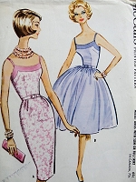Vintage 1960s FLIRTY Dress with Slim or Full Skirt McCalls 5842 Bust 34 Sewing Pattern