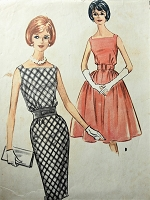 1960s Vintage CLASSIC Dress with Square Neckline and Slim or Full Skirt McCalls 5846 Sewing Pattern Bust 34