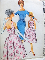 Early 60s GLAM Slim or Full Skirt Cocktail Party Dress Pattern McCALLS 5881 Low Back Beautiful Bell Skirted Dress or Sizzling Slim Bust 32 Vintage Sewing Pattern FACTORY FOLDED
