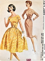 1960s BEAUTIFUL Slim or Full Skirt Midriff Dress Pattern McCALLS 5898 Scoop Neckline, Crushed and Knotted Midriff Daytime or Party Dress Bust 34 Vintage Sewing Pattern