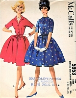 1960s CUTE Shirtwaist Dress Pattern McCALLS 5953 Two Pretty Styles Day or After 5  Bust 34 Vintage Sewing Pattern
