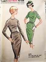 1960s Vintage CLASSIC Slim Dress with Dart Fitted Bodice McCalls 6004 Sewing Pattern Bust 32
