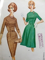 1960s Vintage CHIC Dress with Slim or Full Skirt McCalls 6034 Bust 34 Sewing Pattern