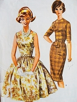1960s Vintage CLASSIC Dress with Slim or Full Skirt McCalls 6038 Bust 34 Sewing Pattern