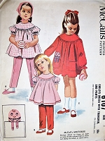 1960s ADORABLE Little Girls Dress With Transfer and Pants Pattern McCALLS 6107 Sweet Chilrens Smock Dress and Cute Humpty Dumpty Applique Transfer Size 5 Vintage Sewing Pattern FACTORY FOLDED