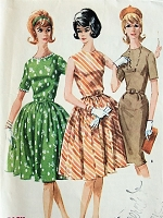 1960s CLASSIC Dress with Full or Slim Skirt McCall's 6146 Vintage Sewing Pattern Bust 32