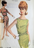 1960s Vintage ELEGANT Dress with Bateau Neckline and Five-Gored Skirt McCalls 6181 Sewing Pattern Bust 32