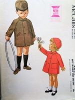 1960s CHARMING Boys or Girls Coat and Hat Pattern McCALLS 6255 Sweet Styles Size 4 Childrens Vintage Sewing Pattern