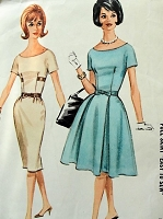 1960s FLATTERING Dress Pattern McCALLS 6396 Slim or Full Skirt Scoop Neckline Dress Datime or After 5 Bust 32 EASY To Sew Vintage Sewing Pattern