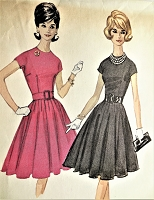 1960s Vintage PRETTY Dress with Full 13-Gored Skirt and Jewel Neckline McCalls 6471 Sewing Pattern Bust 32