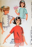 1960s CUTE Girls Ruffled or Tailored Blouse Pattern McCALLS 6506 Three Sweet Blouses Size 12 Vintage Childrens Sewing Pattern