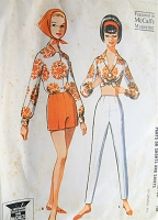 1960s Vintage SUMMER TIME Blouse with Pants or Shorts McCall's 6717 Sewing Pattern Bust 34
