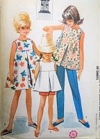 1960s SWEET Girls Dress or Top and Pants or Shorts Pattern McCALLS 6742 Pretty Designs Size 8 Childrens Vintage Sewing Pattern