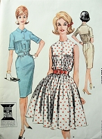 1960s Vintage STYLISH Dress with Gathered Bodice and Slim or Full Skirt McCalls 6767 Sewing Pattern Bust 32