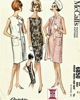 1960s Slim Shift and Sleeveless Coat Pattern McCALLS 6850 Easy To Sew 2 Dress Versions Bust 32 Vintage Sewing Pattern