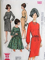 1960s CLASSY Dress with Slim or Full Skirt McCall's 6973 Vintage Sewing Pattern Bust 32