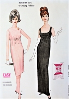 1960s EASY Audrey Hepburn Elegance Evening Gown or Cocktail Party Dress Pattern McCALLS 7043 Jewel or Plunging Low Necklines Slim Empire Dress Bust 32 Perfect Beginners Easy To Sew Vintage Sewing Pattern FACTORY FOLDED