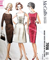 1960s CHIC Corset Style Slim or Full Skirt Cocktail Party Dress Pattern McCALLS 7056 Figure Flattering Three Style Versions Bust 34 Vintage Sewing Pattern