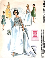 1960s DREAMY Wedding Dress Bridal Gown Pattern McCALLS 7082 Detachable Train Sleeveless Evening Gown Lace Jacket Bust 36 Vintage Sewing Pattern FACTORY FOLDED