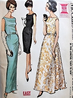 1960s GLAMOROUS Evening Gown Cocktail Party Dress Pattern McCALLS 7088  Classy Slim or Flared Skirt Dress For Special Events Bust 37 Easy To Sew Vintage Sewing Pattern FACTORY FOLDED