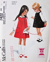 1960s ADORABLE Helen Lee Designer Little Girls Jumper Dress and Blouse Pattern McCALLS 7422 Cute Front Button Jumper and Blouse in 2 Versions Childrens size 4 Vintage Sewing pattern FACTORY FOLDED