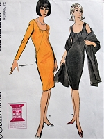 1960s FABULOUS Cocktail Evening Dress and Stole Pattern McCALLS 7631 Low Neckline, Figure Flattering Slim Party Dress Bust 36 Vintage Sewing Pattern FACTORY FOLDED