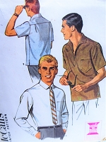 1960s CLASSIC Mens Shirt or Pull Over Shirt Pattern McCALLS 7909 Casual or Dress Gentlemens Shirts, Chest 34-36 Menswear Vintage Sewing Pattern