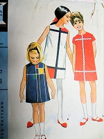 1960s RARE Mod MONDRIAN Girls Dress Pattern McCALLS 8154 Ionic Mod Shift Dress Breast 30 Vintage Sewing Pattern
