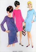 1960s MOD Shift Dress Pattern McCALLS 8362 Cute  Slim Dress Bust 32 Vintage Sewing Pattern UNCUT