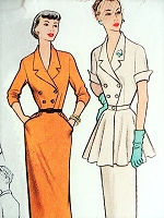 1950s CHIC Slim Dress With Detachable PEPLUM Pattern McCALLS 8544 Very Stylish Day or After 5 Bust 32 Vintage Sewing Pattern
