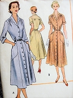 1950s DAINTY Tailored Dress McCall's 8593 Vintage Sewing Pattern Bust 30