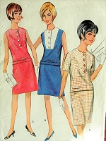 1960s Vintage CASUAL Two Piece Dress with Slim or Full Skirt McCalls 8604 Sewing Pattern Bust 36