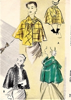 1950s ELEGANT Cape Pattern McCALLS 8645 Day or Evening Short Cape, Stand-up Collar or Scarf Tie Beautiful Designs Bust 38 Vintage Sewing Pattern FACTORY FOLDED