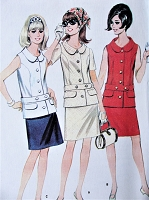 1960s MOD Two Pc Dress Pattern McCALLS 8752 Classy Dress in 2 Versions Bust 32 Vintage Sewing Pattern FACTORY FOLDED