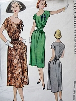 1950s CUTE Jiffy Dress Pattern McCALLS 8758 Easy To Sew Slim Loose Dress With Belt 2 Versions Bust 28 Vintage Sewing Pattern FACTORY FOLDED