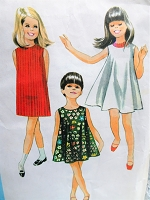 1960s MOD Girls Shift and Tent Dress Pattern McCALLS 8806 Cute Girls Dress in 2 Versions Size 14 Vintage Childrens Sewing Pattern