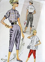 1950s SPORTY Shirt Blouse and Pedal Pushers Pattern McCALLS 8820 Fun Tapered Pedal Pusher Pants,Tuck In or Loose Shirt Bust 34 Vintage Sewing Pattern
