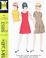 1960s CUTE Pant Dress or Jumper and Top Pattern McCALLS 8853 Bust 34 Vintage Sewing Pattern UNCUT