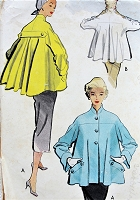 1950s STUNNING Jacket Topper Pattern McCALLS 8864 Haute Couture Style Flared Back Jacket Just Gorgeous Design Bust 30 Vintage Sewing Pattern
