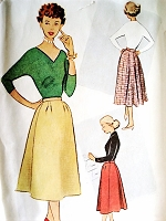 1950s LOVELY Flared Back Skirt Pattern McCALLS 8967 Slim Front Beautiful Flared Back Skirt Waist 26 Vintage Sewing Pattern