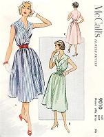 1950s PRETTY Jiffy Dress Pattern McCALLS 9010 Easy To Make and Perfect Carefree Summer Dress Bust 30 Vintage Sewing Pattern FACTORY FOLDED