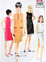 1960s MOD Slim Dress Pattern McCALLS  9029 Six Dress Versions Day or Evening Bust 32 Vintage Sewing Pattern