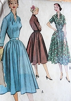 BEAUTIFUL 1950s Dress Pattern McCALLS 9150 Draped Neckline Full Skirt Day or after 5 Dress,Bust 32 Vintage Sewing Pattern